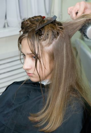 Hair styling in a salon