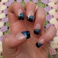 blue diagonal nail design